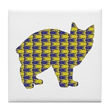 Manx With Fishes Tile Coaster