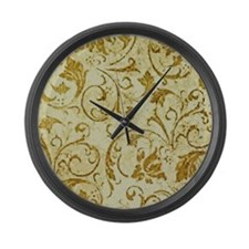 PRINTS - vintage scroll Large Wall Clock
