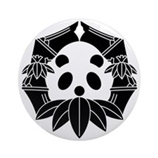 Panda in bamboo-shaped circle Ornament (Round)