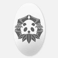 Panda in bamboo-shaped circle Sticker (Oval)