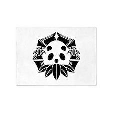 Panda in bamboo-shaped circle 5'x7'Area Rug