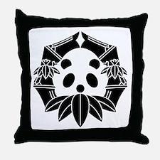 Panda in bamboo-shaped circle Throw Pillow