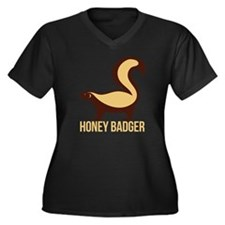 Honey Badger Women's Plus Size Dark V-Neck T-Shirt