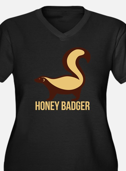 Honey Badger Women's Plus Size Dark V-Neck T-Shirt