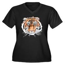 tigerw Women's Plus Size Dark V-Neck T-Shirt