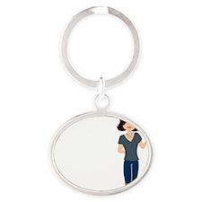 cranky_0314 Oval Keychain