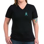 Teal Awareness Ribbon Women's V-Neck Dark T-Shirt