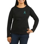 Teal Awareness Ribbon Women's Long Sleeve Dark T-S