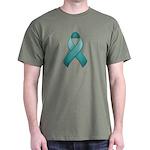 Teal Awareness Ribbon Dark T-Shirt