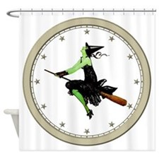 CLOCK 1 Witch Silver Shower Curtain