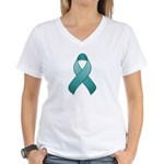 Teal Awareness Ribbon Women's V-Neck T-Shirt