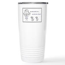 Good Stick Figure Woman and Cat Travel Mug