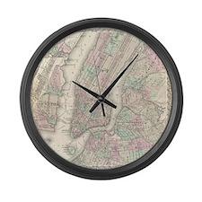 MapNewYork7100 Large Wall Clock