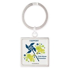 Child Abuse Prevention Square Keychain