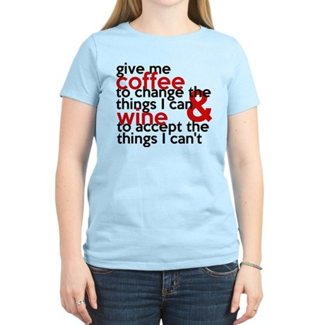 Give Me Coffee And Wine Humor Women's Light T-Shir