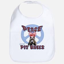 PEACE LOVE and PITBULLS Bib