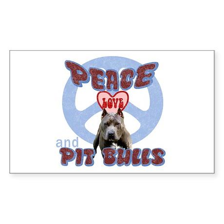 PEACE LOVE and PITBULLS Rectangle Sticker