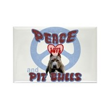 PEACE LOVE and PITBULLS Rectangle Magnet