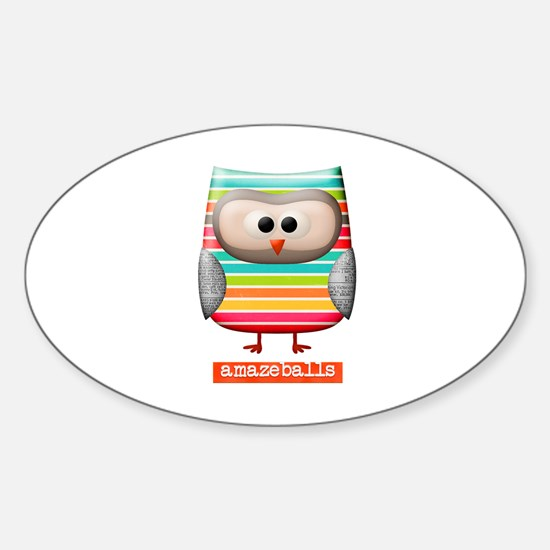 Amazing Amazeballs Striped Owl Sticker (Oval)
