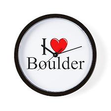 """""""I Love Boulder"""" Wall Clock"""
