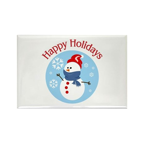 Holiday Snowman with Red Hat Rectangle Magnet (100