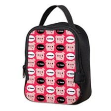 Kawaii I Love Pigs Neoprene Lunch Bag