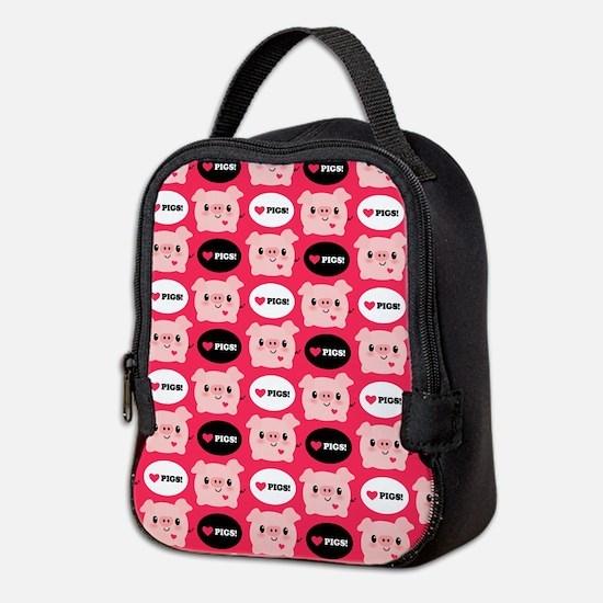 Kawaii I Love Pigs Neoprene Lunch Bag