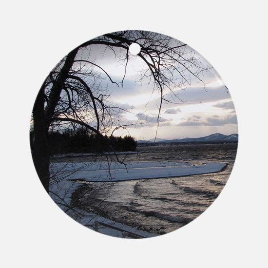sunset on Lake Champlain Round Ornament