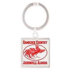 gamecock_country_ellipse_red Square Keychain