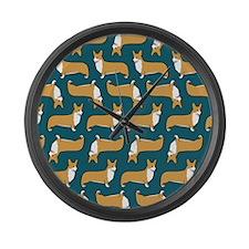 corgipillow2 Large Wall Clock