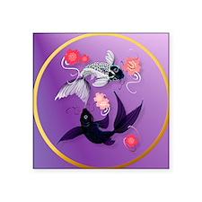 """Circle Yin and Yang Koi and Square Sticker 3"""" x 3"""""""
