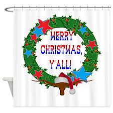 Longhorn Santa - Merry Christmas Yall! Shower Curt