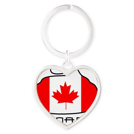 Canada Curling Heart Keychain