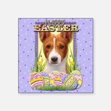 "EasterEggCookiesBasenjiCP Square Sticker 3"" x 3"""
