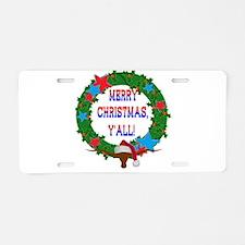 Longhorn Santa - Merry Christmas Yall! Aluminum Li