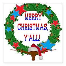 Longhorn Santa - Merry Christmas Yall! Square Car