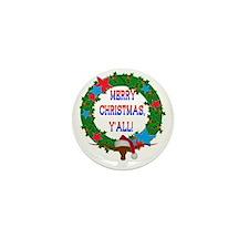 Longhorn Santa - Merry Christmas Yall! Mini Button
