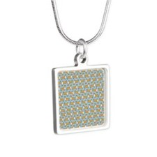 showercurtain Silver Square Necklace
