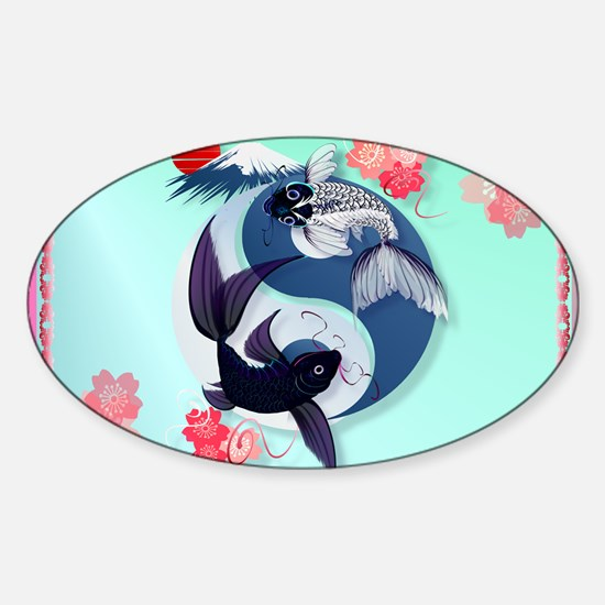 Yard Sign Yin and Yang Koi Sticker (Oval)