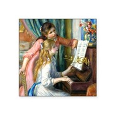 "Pillow Renoir Piano Square Sticker 3"" x 3"""