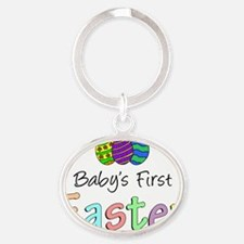 Babys First Easter Oval Keychain