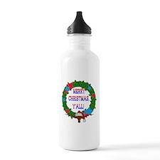Longhorn Santa - Merry Christmas Yall! Water Bottl