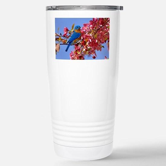 Bluebird in Blossoms Stainless Steel Travel Mug