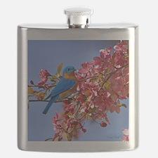 Bluebird in Blossoms Flask