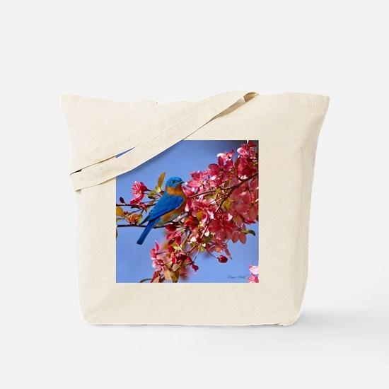 Bluebird in Blossoms Tote Bag