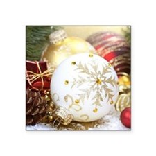 """Christmas Baubles Square Sticker 3"""" x 3"""""""