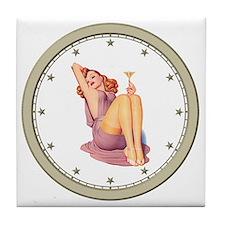 CLOCK A Pin-Up Silver Star Tile Coaster