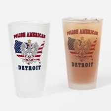 Detroit Michigan Polish Drinking Glass
