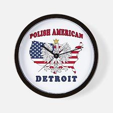 Detroit Michigan Polish Wall Clock