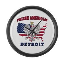 Detroit Michigan Polish Large Wall Clock